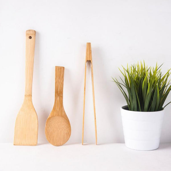 Non-Stick Bamboo Cooking Tool Eco-Friendly Natural Wood Long Handle Turner No Paint Rice Spoon Bread/Salad Clamp Tableware Set Trend