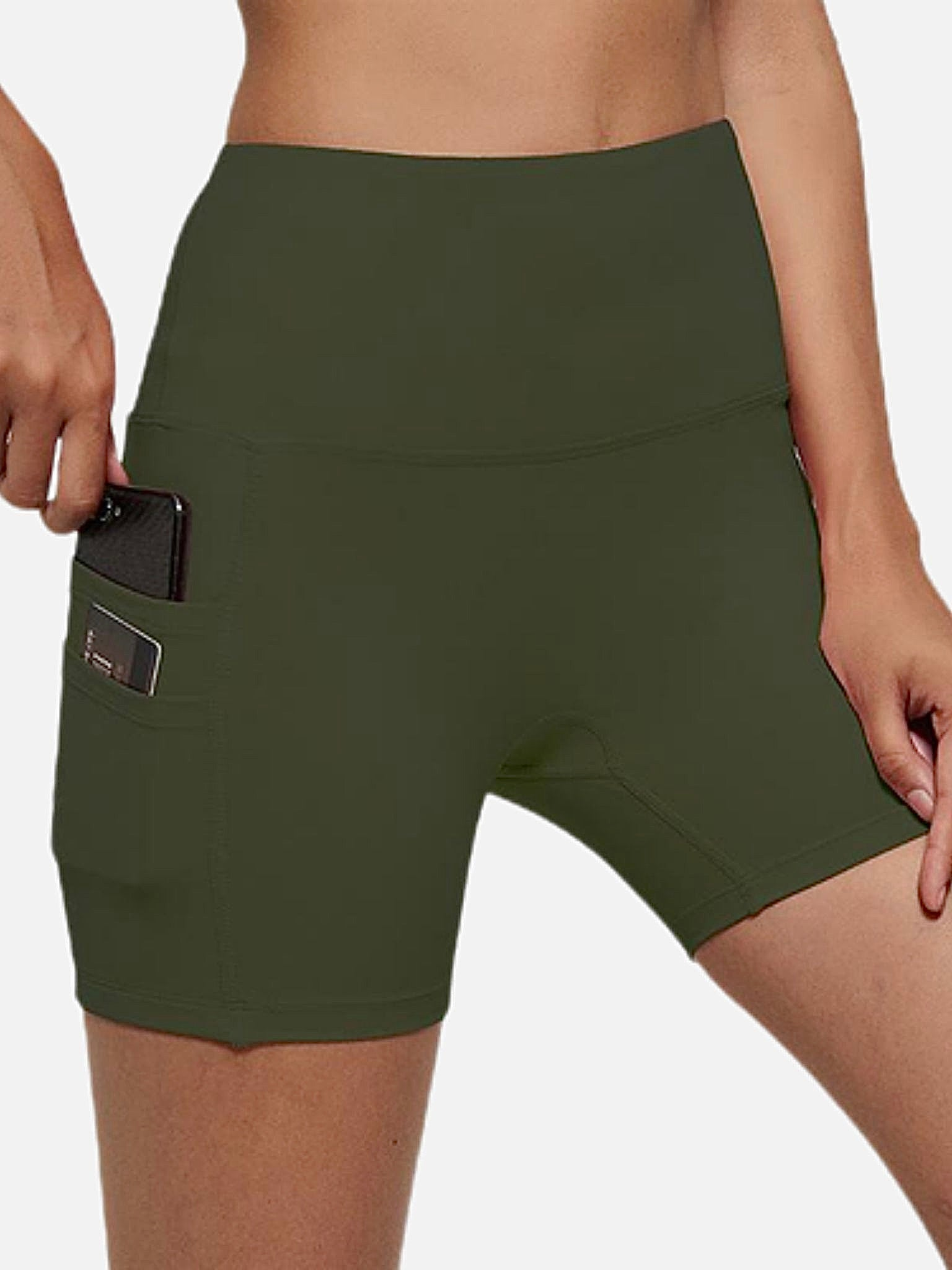 miFit Sports Shorts     Cellphone pocket no camel toe high waist army green buttery-soft plus size Fitness Gym Workout Yoga Athletic Training Sport Women's Shorts Sportswear Trend
