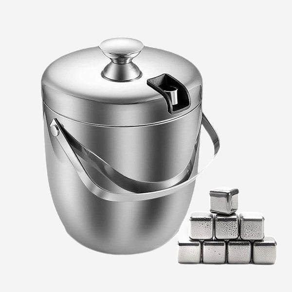 2.8L Insulated Stainless Steel Ice Bucket with Lid and Whiskey Chilling Stones Double Walled Ice Buckets for Beer Wine Cooler Barware Accessories Trend