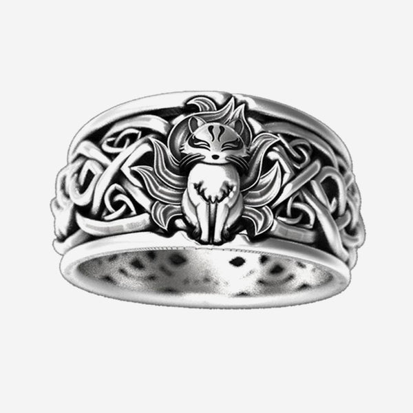 Japanese Nine-Tailed Fox Ring Cute Animal Graphicsnaruto's Anime Gift Fans Rings Retro Punk Style Fox Fire Japan Jewelry Trend