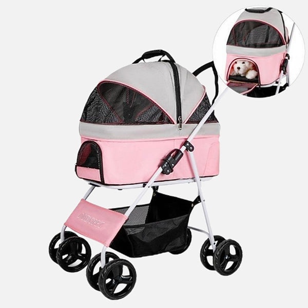 2-in-1 Detachable Pet Stroller   Mesh Cat Dog Carriers & Bags Outdoor Travel Trolley Dog Car Seat Cover Bed for Dogs and Cats. Available in Black, Gray / Grey, Pink Trend