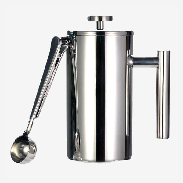 Double Wall Stainless Steel French Press Coffee Maker Keeps Brewed Coffee or Tea Hot-3 size with sealing clip Spoon Trend
