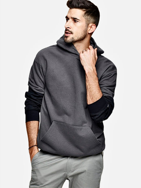 Supersoft Hooded Sweatshirt     100% Cotton Japanese Gray / Grey Patchwork Hip Hop Hoodie Men's Sweatshirt Japan Streetwear Fashion Trend
