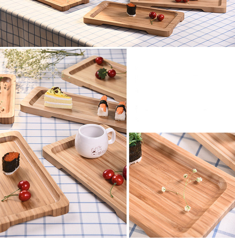 Rectangle Bamboo Sushi Tray Dishes Tea Dinner Plate Party Serving Trays Style F