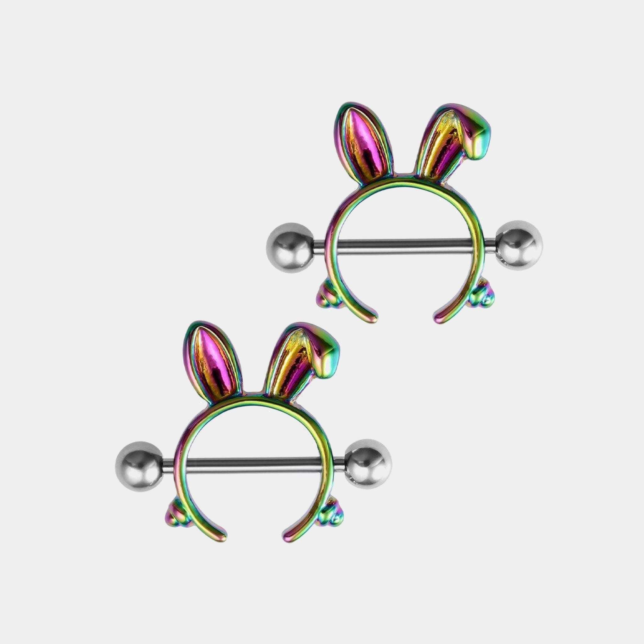 1 Pair Rabbit Nipple Rings 316L Stainless Steel Nipple Cover Punk Rainbow Color Body Jewelry Gift
