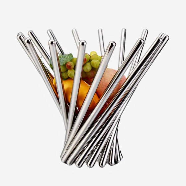 Contemporary Stainless Steel Foldable Fruit Basket Decorative Tabletop Metal Organizer Handicraft Creative Adornment Furnishing Trend