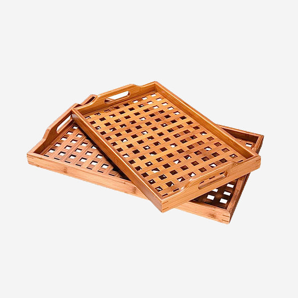Bamboo Lattice Serving Tray with Handle for Tea Coffee Creative Natural Wooden Table Decor Storage Trays Trend