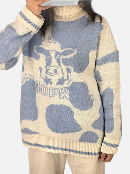 Turtleneck Sweater   Cute Milk Cow Print Knit Warm Loose Batwing Sleeve Jumpers Harajuku Tops Women's Sweaters And Pullovers Trend