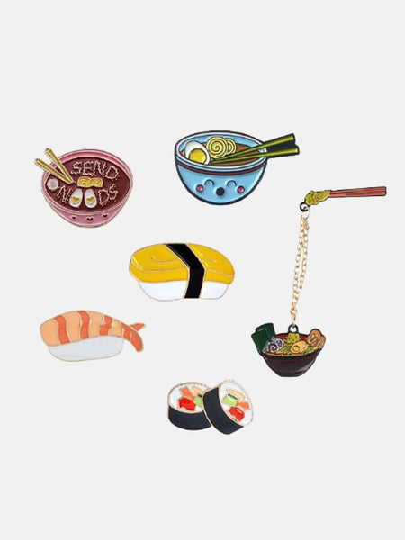 Japanese Food Lapel Pin        Cartoon Ramen Sushi Enamel Pins Cute Japanese Foods Tonkotsu noodles Brooches Denim Shirt Collar Lapel Pins Badge Jewelry Gifts Trend