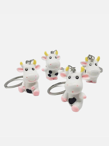 Cow Keychain     Cute 3D Resin Cartoon Cattle Animal Key Chain Key Ring Gift Anime Keyring Trend