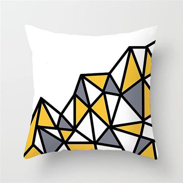 Geometric Cushion Covers Yellow Gray / Grey  Print Pillow Case For Home Chair Sofa Decoration Pillowcases Cover 45cm*45cm Trend
