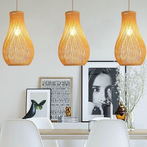 Trend Creative Japanese bamboo pendant lights restaurant bar lamp personality tea room lamp garden wind hand-woven lamp Japan Home Decor Lighting Fixtures Accessories Style