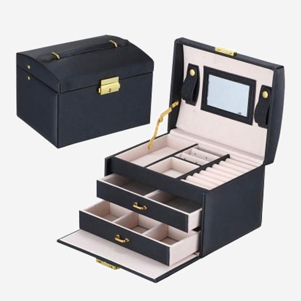 Leather Jewelry Box   Large storage space ring necklace bracelet boxes gift Trend