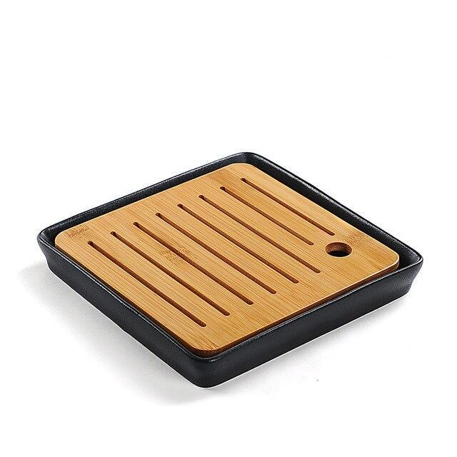 Trend Bamboo Black ceramic tea tray Japanese tea ceremony kung fu tea set trays round heavy bamboo tray water storage Japan home leisure tea trays
