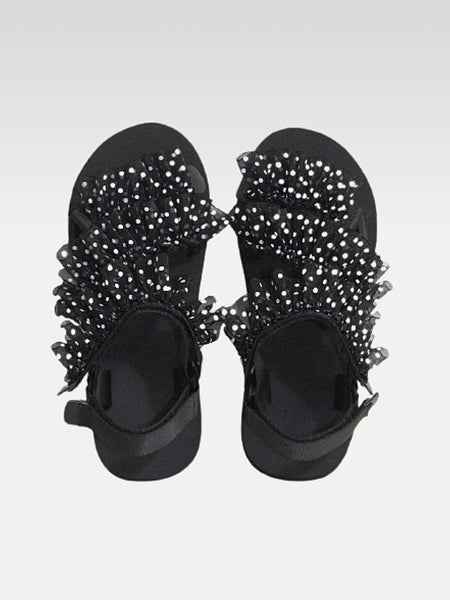 Japanese Beach Sandals       Japan wild white polka dot harajuku black thick bottom increased by nearly 3cm platform women's footwear Trend