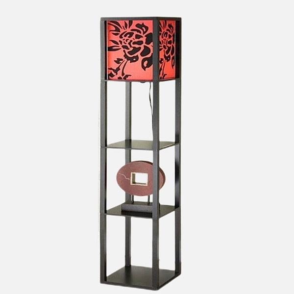 Wooden Floor Lamp Red Floral with Shelving