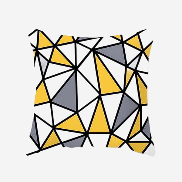 Geometric Cushion Covers Yellow Gray / Grey Triangle Print Pillow Case For Home Chair Sofa Decoration Pillowcases Cover 45cm*45cm Trend