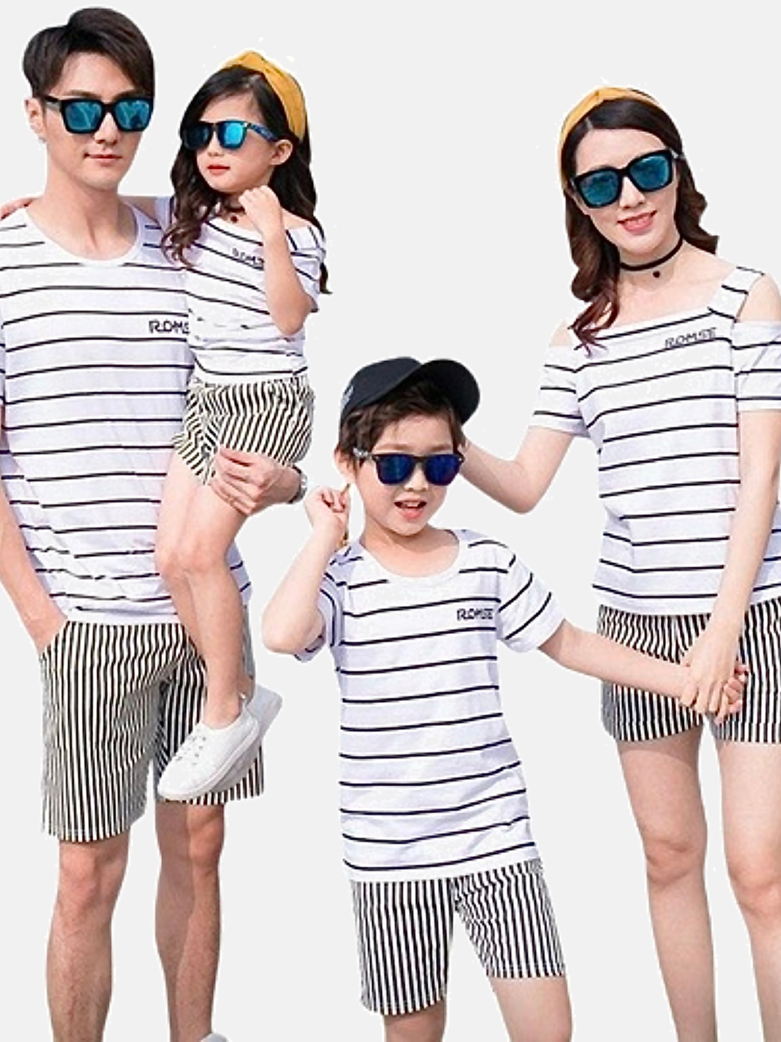 Family Match Sets   Women girls men boys cotton black striped boatneck T-shirt and shorts Dad son mom daughter toddler matching clothes outfits set Style  Trend