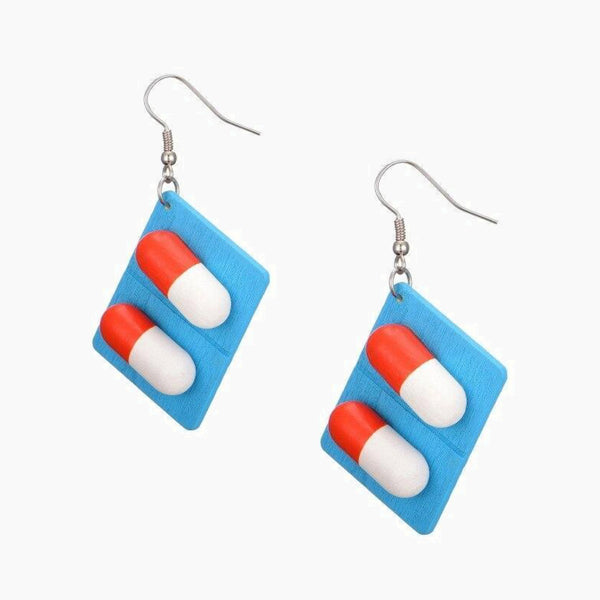 Funny Creative Ear Wood Earrings Did you take the medicine today? wooden pill capsules Harajuku wind ear drops accessories Trend