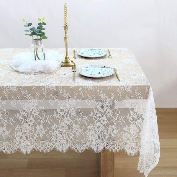 150*300cm White Lace Decorative Tablecloth Elegant Fabric Table Cloth Home Decor Hotel Wedding Party Dining Linen Trend