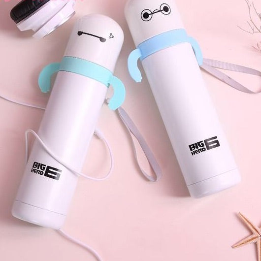 Cute Round Head Vacuum Thermal Mug 360ml Portable Thermos Stainless Steel Coffee Bottle Students White Travel Mug Water Bottle Thermos Flask
