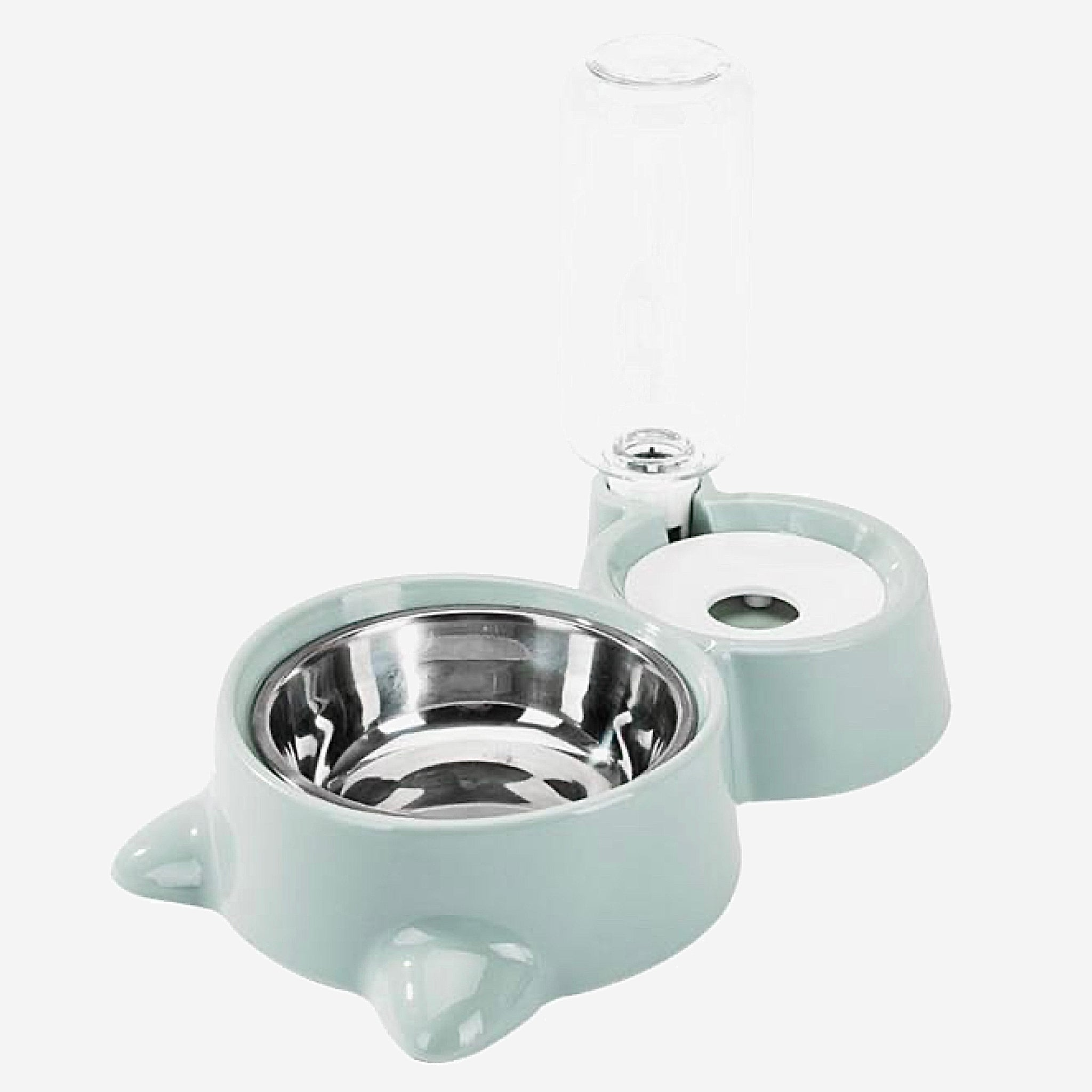 Double Pet Bowls Cat and Dog Food Water Feeder Stainless Steel Pet Drinking Dish Feeder Puppy Feeding Supplies Accessories Blue Trend