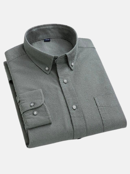 Button Collar Shirt        Gray green cotton long-sleeve loose retro pocket turn-down collar Mens shirts Trend