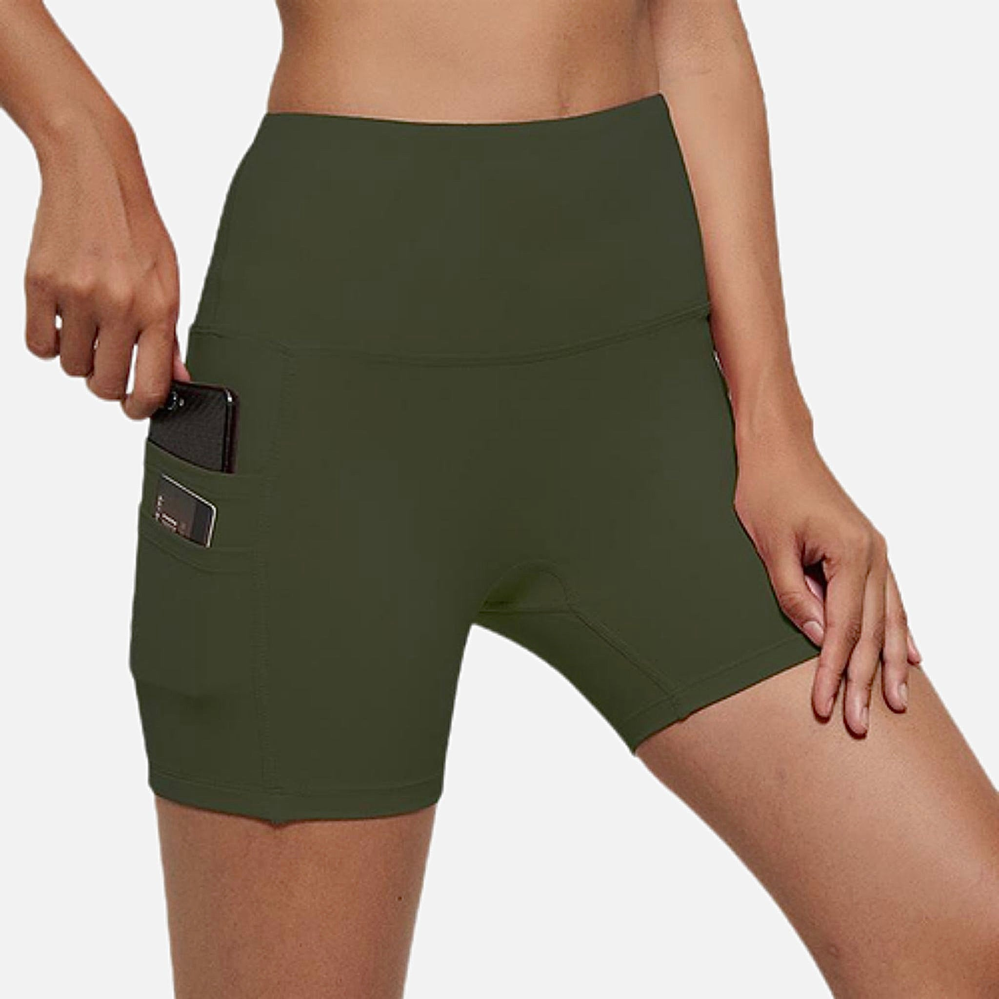 miFit Sports Shorts     Cellphone pocket no camel toe high waist army green buttery-soft plus size Fitness Gym Workout Yoga Athletic Training Sport Women's Shorts Sportswear