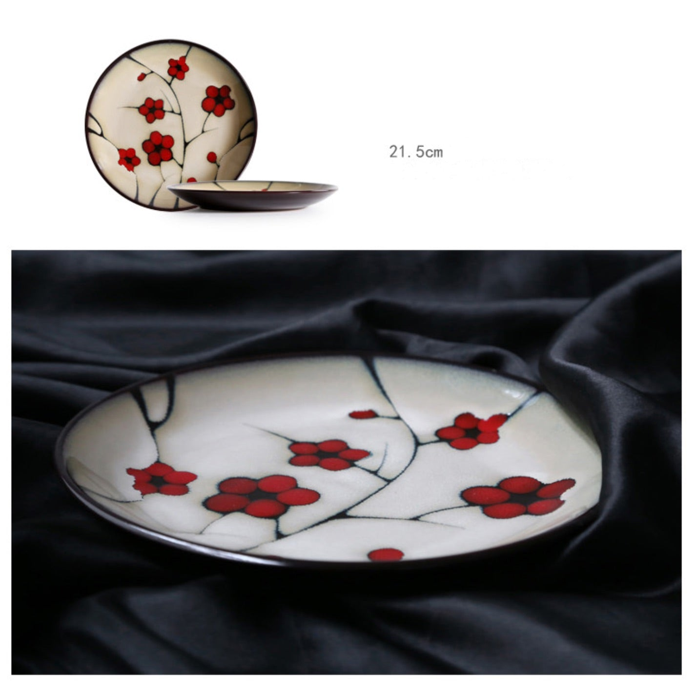 Japanese Red Plum Porcelain Plate Dish Tableware Japan On-Glaze Ceramic Dinnerware Dinner Sets JPN Style N