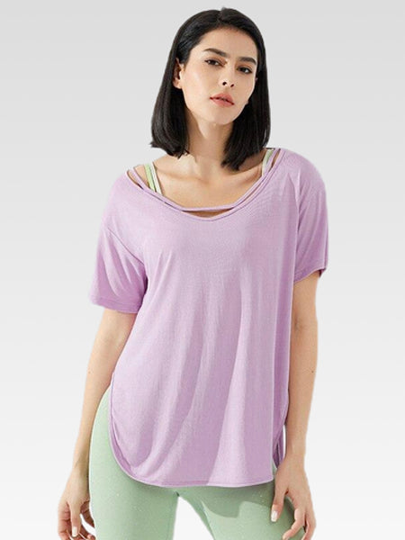 miFit Oversized T-Shirt     Women's running yoga short-sleeved purple fitness harajuku top Trend