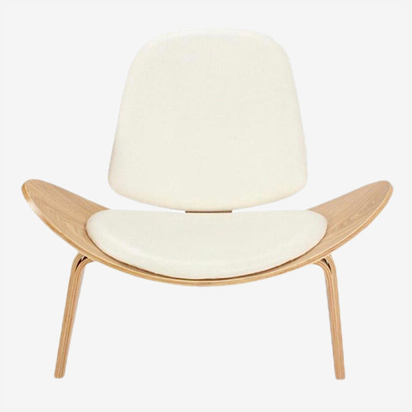 Hans Wegner Style Three-Legged Shell Chair Ash Plywood White Faux Leather Furniture Modern Lounge Shell Chairs Natural Finish Trend