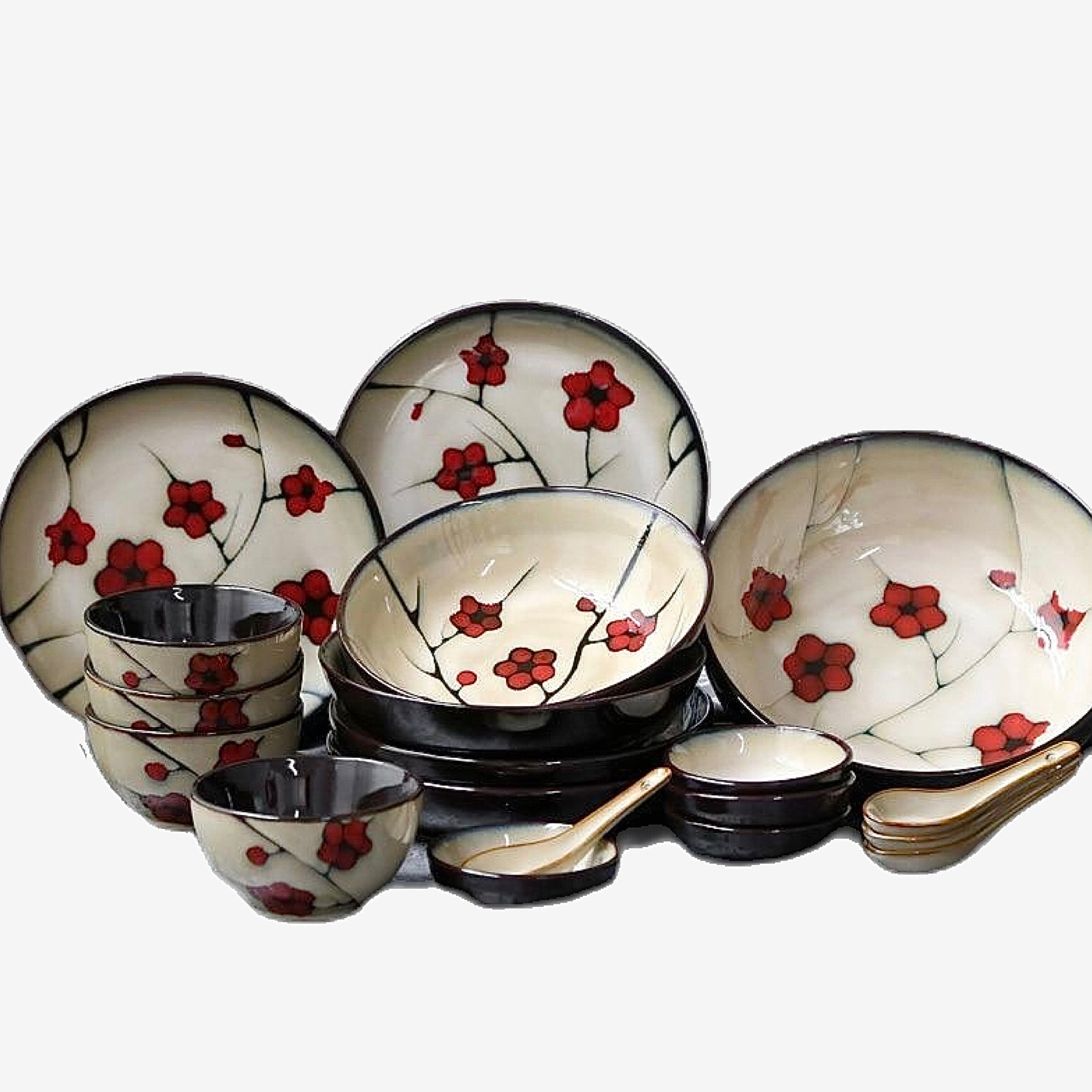 Japanese Red Plum Porcelain Tableware Kitchen Serveware Serving Bowls and Baskets Trend