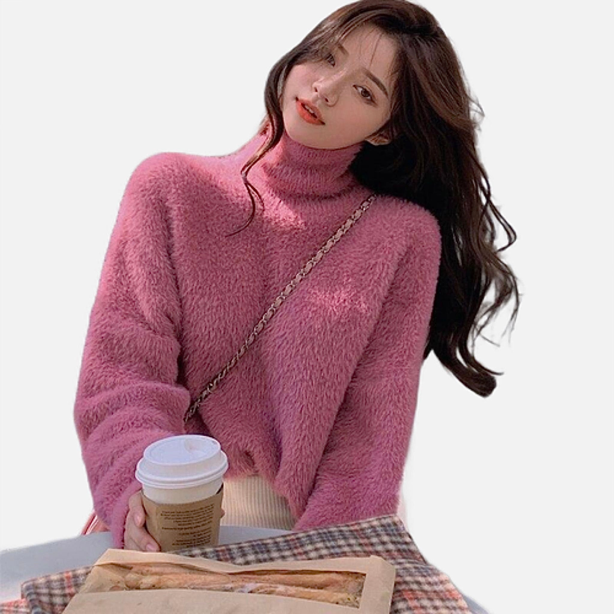 Cozy Turtleneck Sweater    Long Sleeve Sweaters Pink Knit Loose Jumper Women's Pullover Sweaters