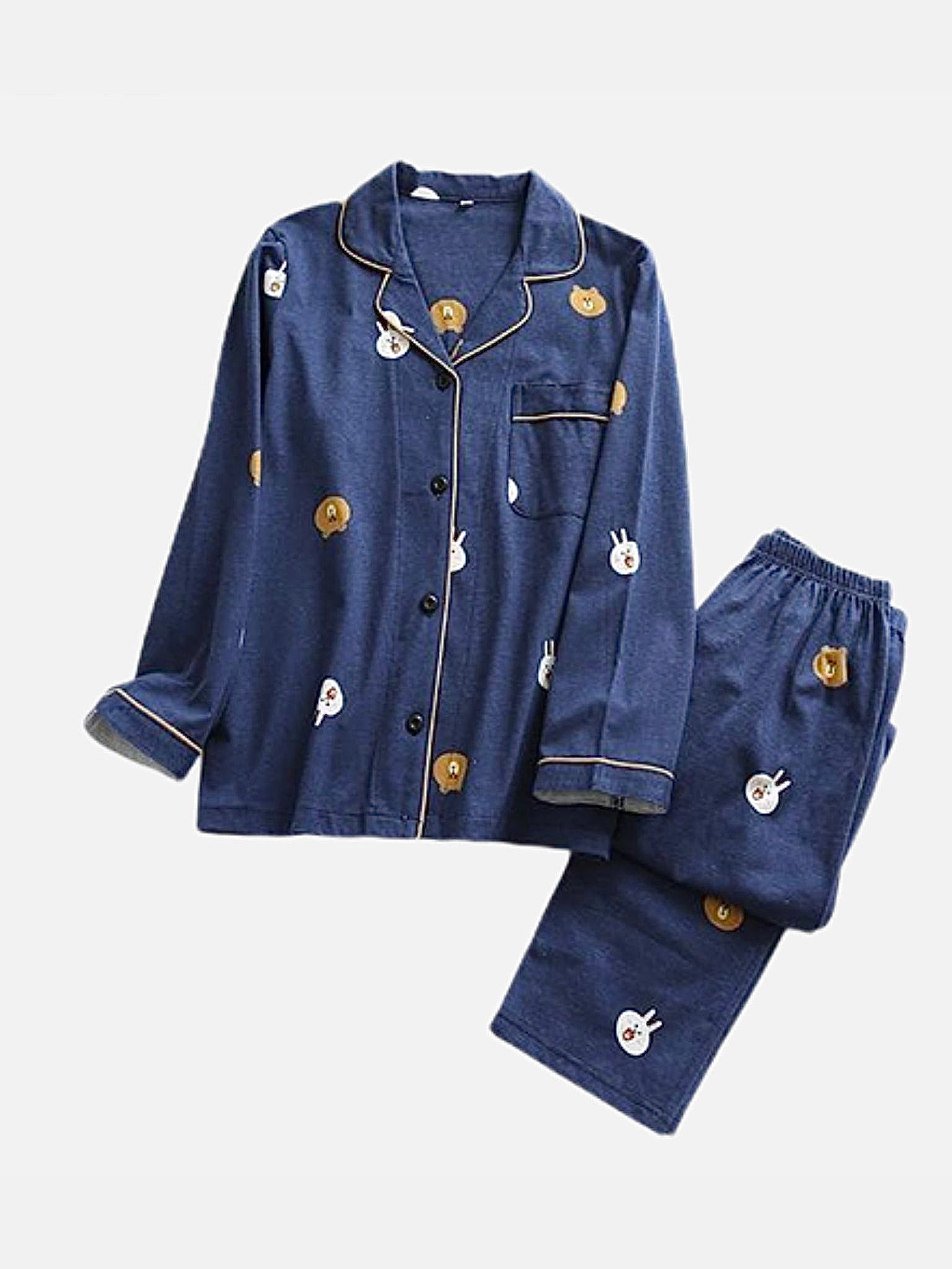 Pajama Set 2-Piece        Japanese cyan blue cotton long-sleeved two piece rabbit and bear pajamas suit Trend