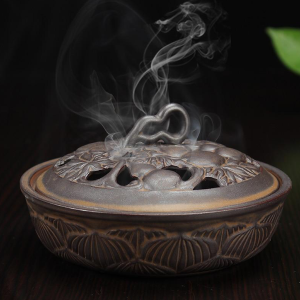 Large Coil Censer Bronze Burner Ceramic Home Decoration Sandwood Incense Burner Living Room Office Household Ornaments Mosquito Coils Holder Trend