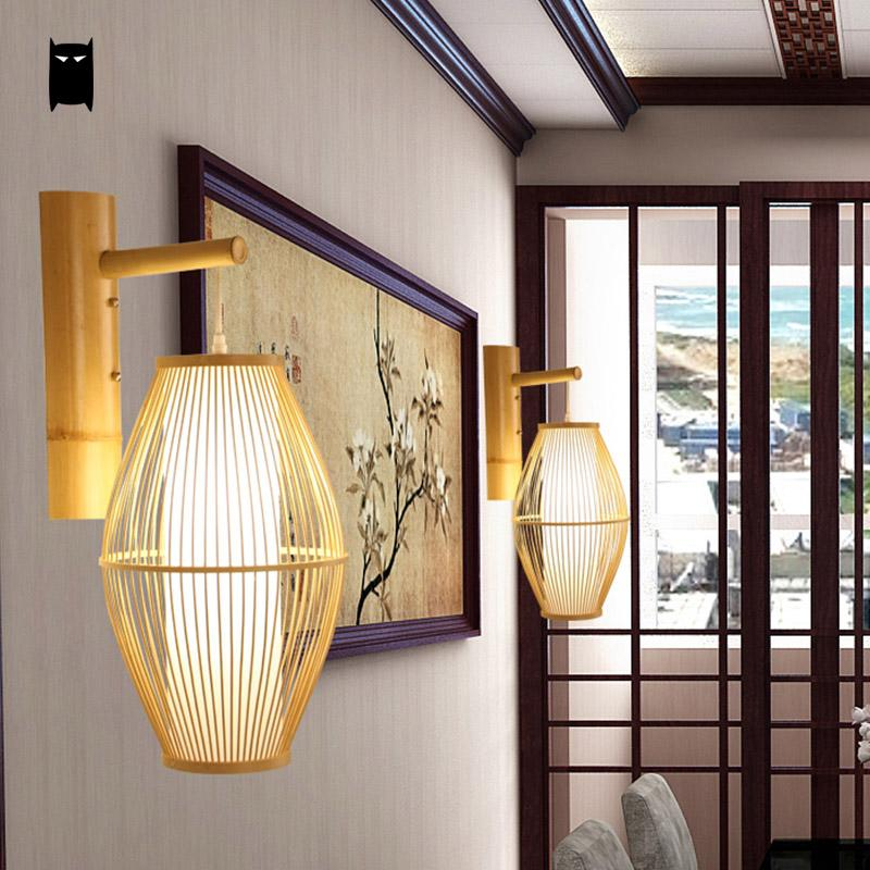 Japanese Bamboo Wicker Rattan Lantern Wall Lam Japan Dining Room Bedroom Lighting Style D
