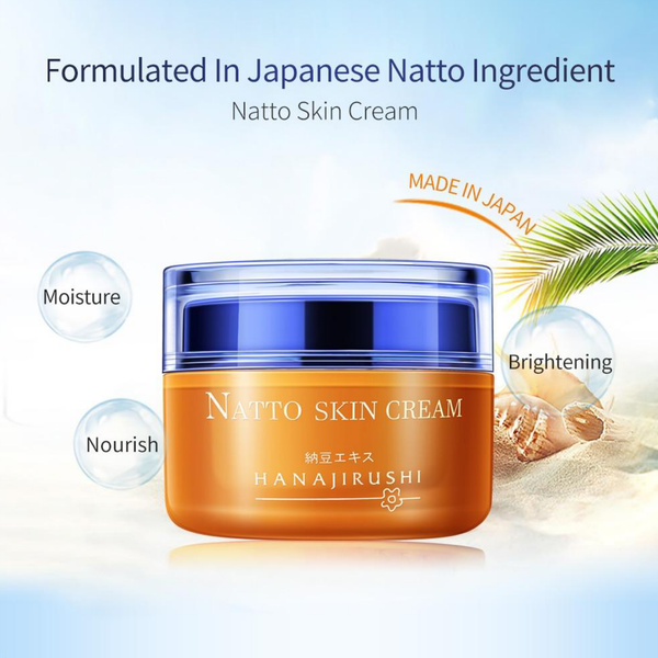 Japanese HANAJIRUSHI Natto Face Cream Firming Brightening Skin Cream Anti-winkle Anti-age Japan Day Cream Nigh Cream 55ml Trend