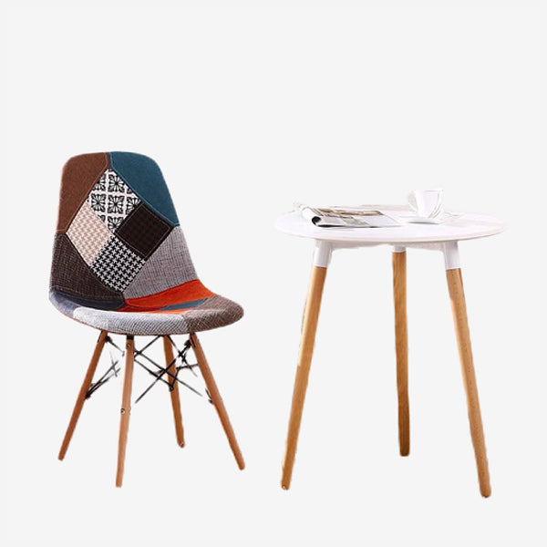 Upholstered Patchwork Wooden Chair  Multi-pattern Multicolor Fabric Modern Natural Wood leg Dining Room Chairs Trend