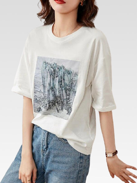 Half Sleeve Crewneck  T-Shirt       Women's white round neck elephant print casual loose cotton tops Trend