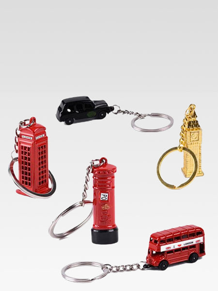 Souvenir Keychain        London bus key organizer Big Ben Taxi Mail Post Box Telephone Booth keys holder pendant souvenirs gifts chain Key ring keyring Trend