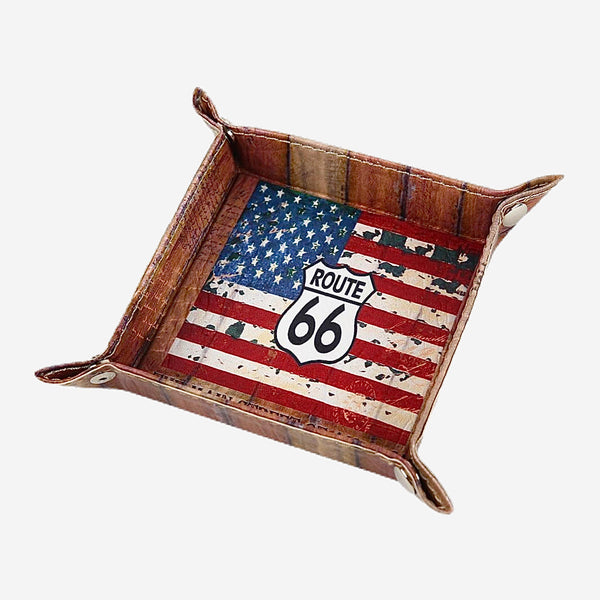 Route 66 American Flag PU Leather Valet Tray The Mother Road Route 66 United States of America USA National Flag Coin Key Trinket Tray for Serving  Trend