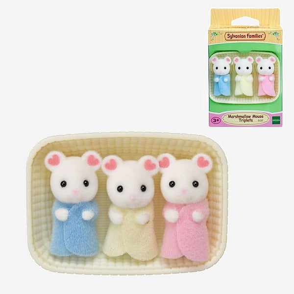 Marshmallow Mouse Triplets 3-Piece Set    Sylvanian Families Dollhouse Furry Animal Marshmallow Mouse Triplets Baby Figures, Gift Trend