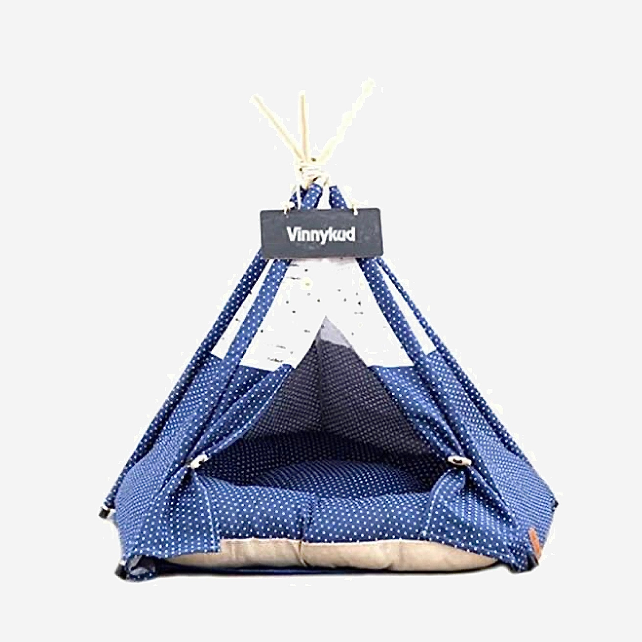 Teepee Pet Tent with Thick Cushion   House Cat Bed Portable for Dog Puppy Excursion Outdoor Indoor use Trend Navy Blue Polka Dot