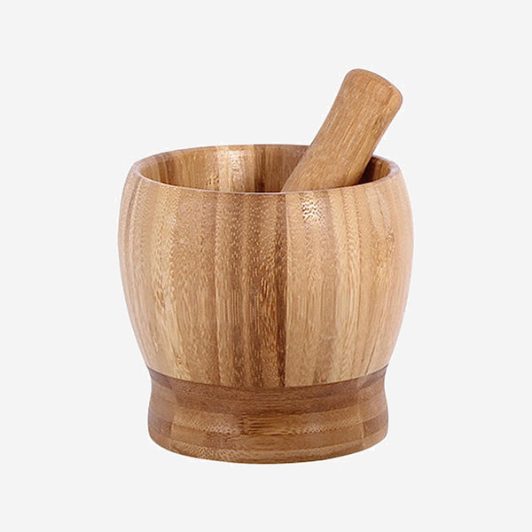 9cm Bamboo Wood Mortar and Pestle Manual Spice Mixing Grinding Bowl Set Garlic Grinder Kitchen Gadget Tool Trend