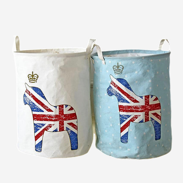 Union Jack Flag Print Canvas Laundry Basket Trend