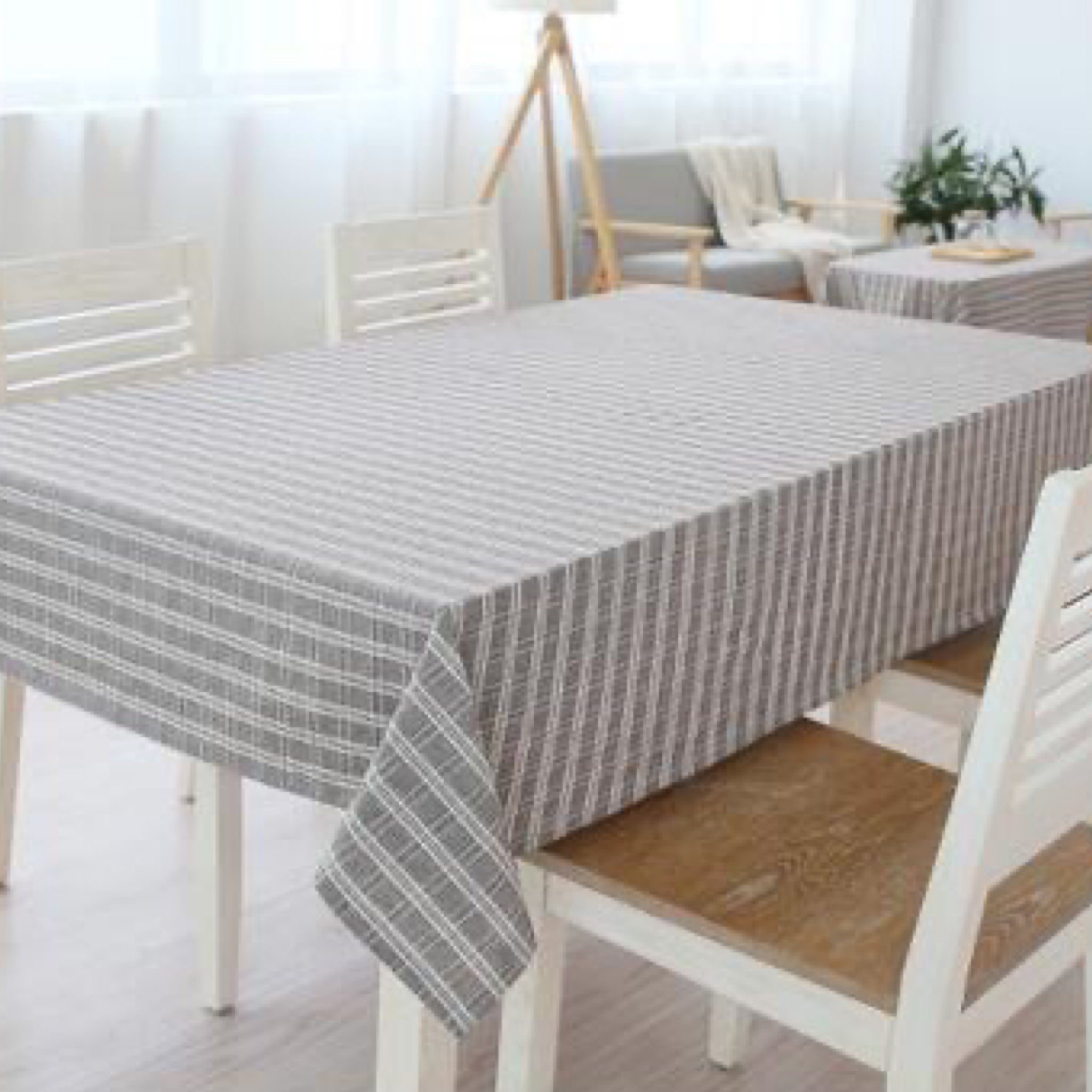 Japanese Brown Plaid Cotton Linen Tablecloth Trend