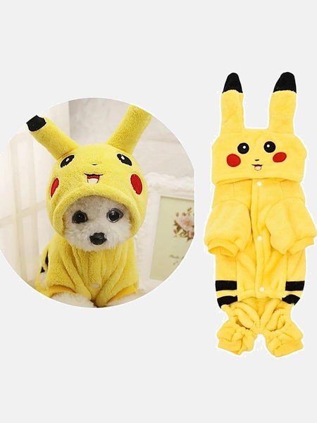Fleece Pikachu Costume        Cartoon Pet's cosplay costumes clothes with button Winter cat dog coat Home hoodie pajamas Trending