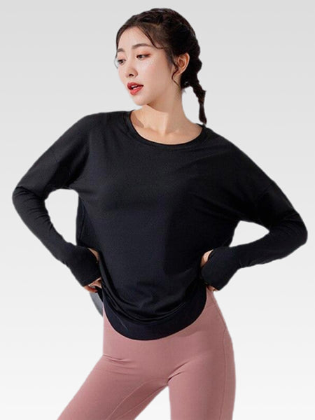 miFit Crewneck T-Shirt        Women's Sports long-sleeve solid black color tee tops and blouses Trend