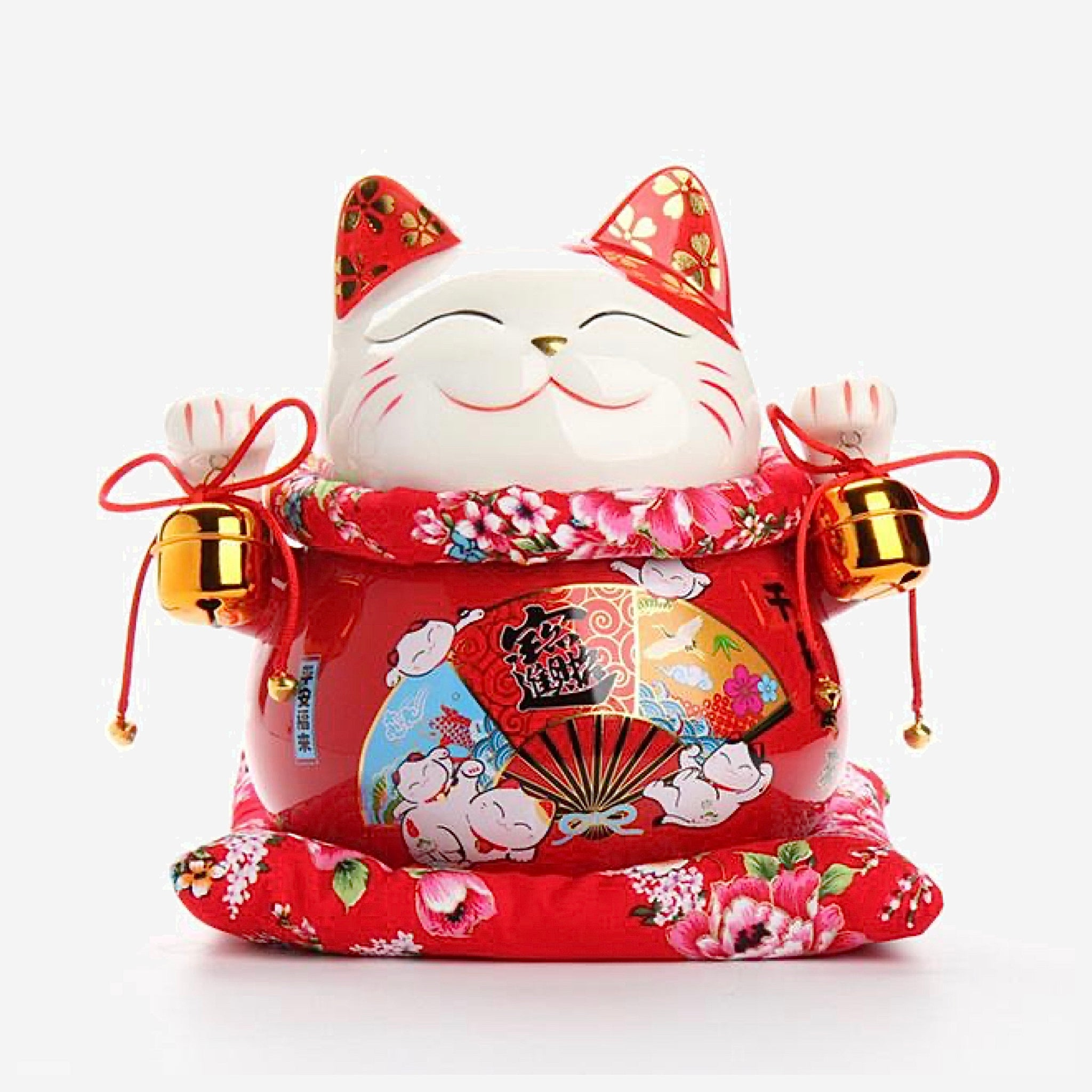 Japanese Good Fortune Lucky Cat Fan Money Bank