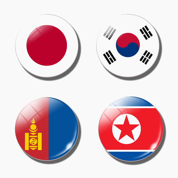 30MM Refrigerator Magnet Asia Flag Japan Korea North Korea Mongolia National Flag Glass Fridge Magnet Souvenir Trend
